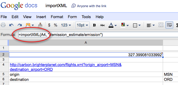 screenshot of Google Docs spreadsheet using importXML